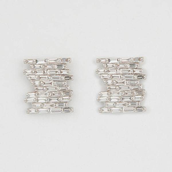 Pave Baguette Diamond Earrings