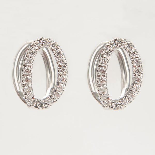 Small Mila White Gold & Diamond Earrings