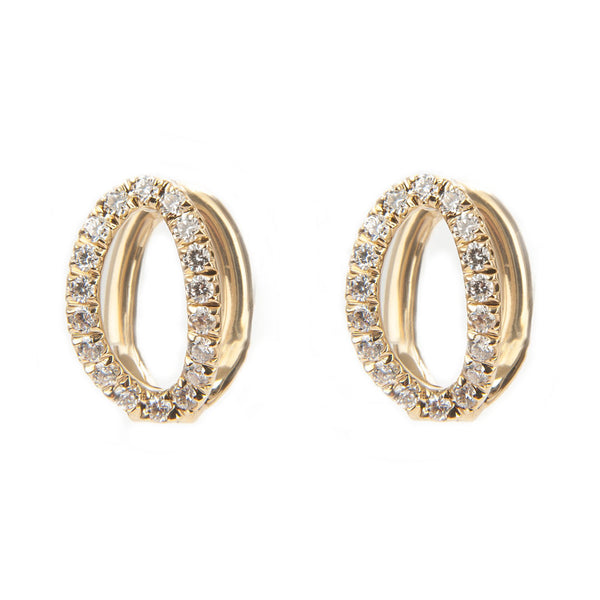Small Mila Yellow Gold & Diamond Earrings