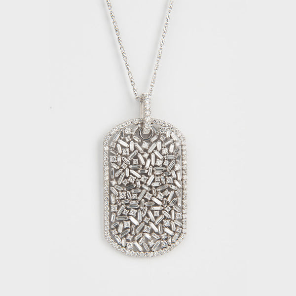 Large Diamond Dog Tag Necklace