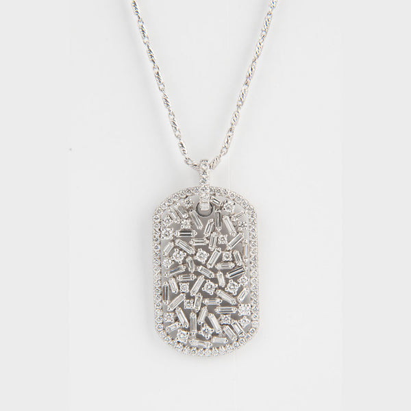 Medium Diamond Dog Tag Necklace