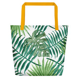 Leaf Me Alone Beach Bag Yellow Back