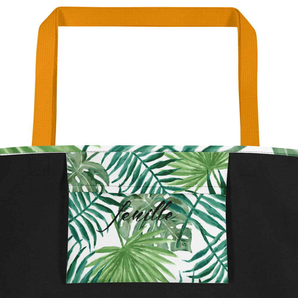 Leaf Me Alone Beach Bag Yellow Inside Pocket