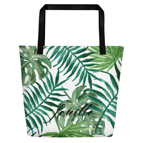 Leaf Me Alone Beach Bag Black
