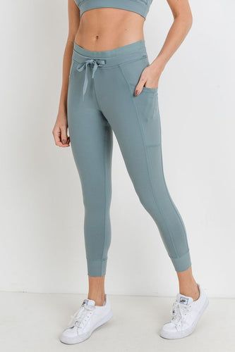 Dusty Blue Capri Hybrid Legging/Jogger
