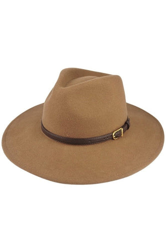 Panama Hat with Belt Detail (Camel)
