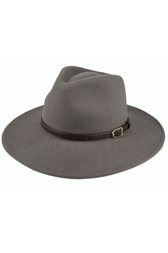 Panama Hat with Belt Detail (Grey)