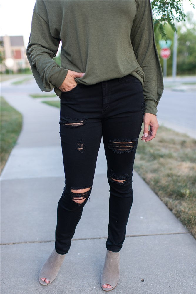 6e21176ba77 Distressed Black Skinny KanCan Jean – KC Cove Boutique