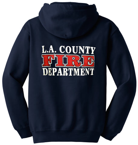 Los Angeles County Fire Department Duty Hooded Zipper Sweatshirt Box Logo