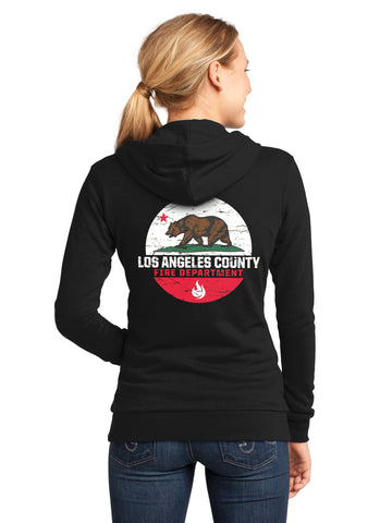Los Angeles County Fire Department California Bear Women's Hooded Zipper Sweatshirt