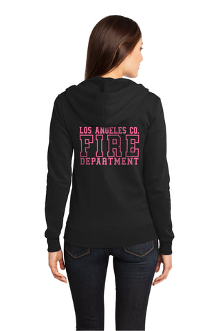 Los Angeles County Fire Department Black/wPink Box 1/C CTY Women's Hooded Zipper Sweatshirt