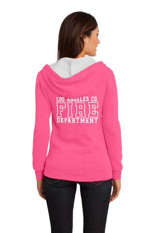 Los Angeles County Fire Department Pink Box 1/C CTY Women's Hooded Zipper Sweatshirt