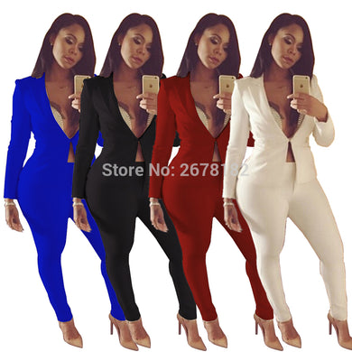 Two piece Pant Suits Sexy Long Sleeve Casual Jacket with Long Pant Legs