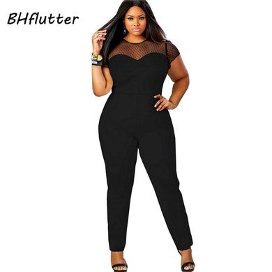 4XL Plus Size Clothing Women Short Sleeve Casual Jumpsuits Lace Patchwork