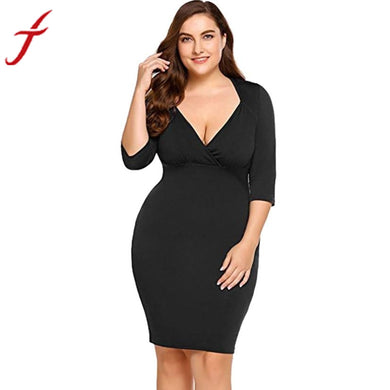 FEITONG Plus Size Sexy V Neck Evening Party Mini Dress