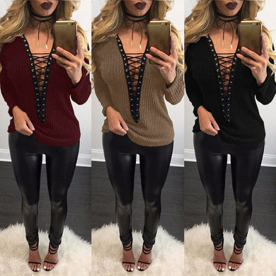 Ladies Sexy Knitted Thin Sweater V Neck  Plus Size