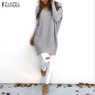 Ladies  V Neck Long Sleeve Thin Knitted Sweaters Plus Size