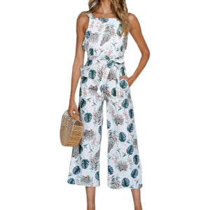 Casual Sunflower Printed Plus Size Jumpsuits