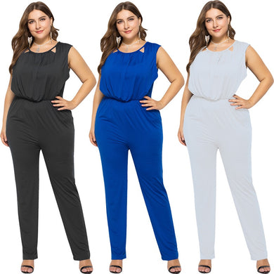 Jumpsuit For Women Solid Backless Stretchy Sleeveless Plus Size