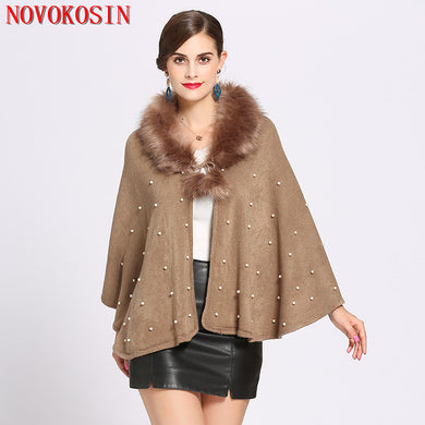 Women Casual Loose Plus Size Fur Neck Cardigan Poncho