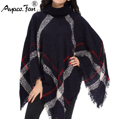 Ladies' Winter Sweater Knitted Poncho Turtleneck  Pullovers Plus Size