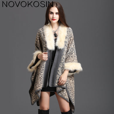 Women Winter Warm Plus Size Knitted Long Sleeves Leopard  Poncho Print  Shawl