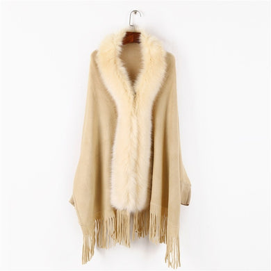 Ladies' high quality knit comfortable warm thick poncho