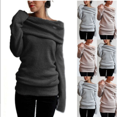Ladies  Long Sleeve Heap Collar Off Shoulder Sweater Plus Size  XL