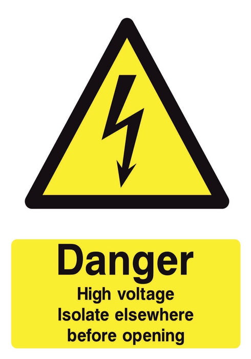 DANGER High voltage isolate elsewhere before opening