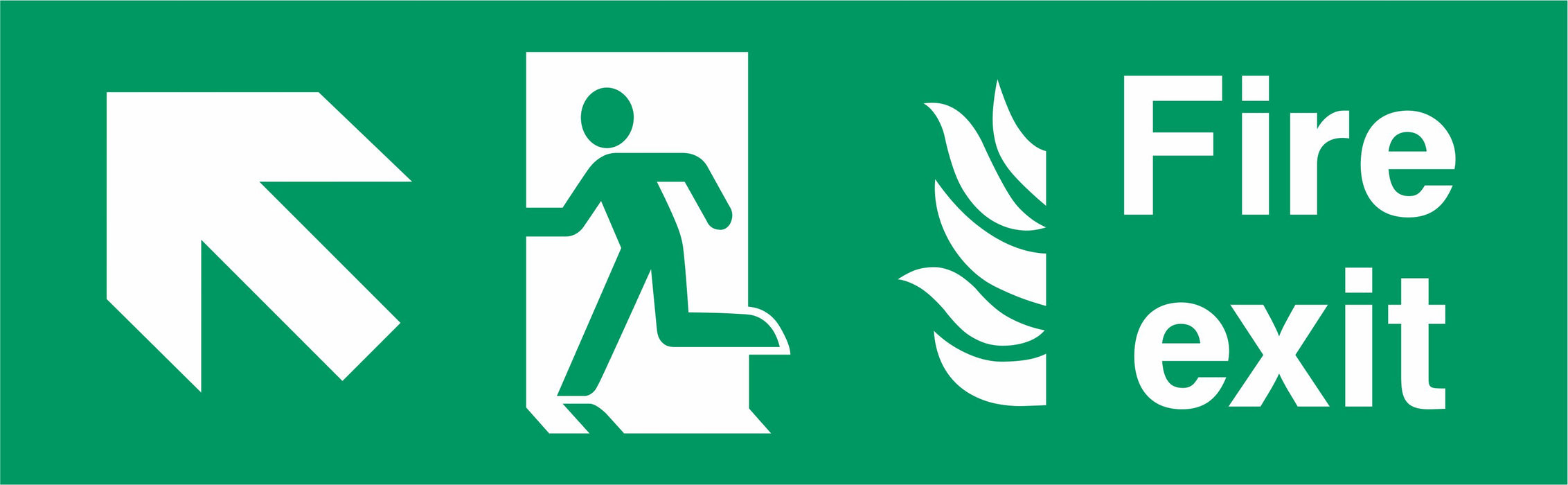 Fire Exit - Running Man Left - Up Left Arrow - NHS COMPLIANT
