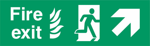 Fire Exit - Running Man Right - Up Right Arrow - NHS COMPLIANT