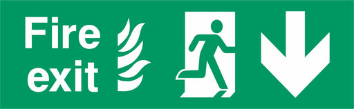 Fire Exit - Running Man Right - Arrow Down - NHS COMPLIANT