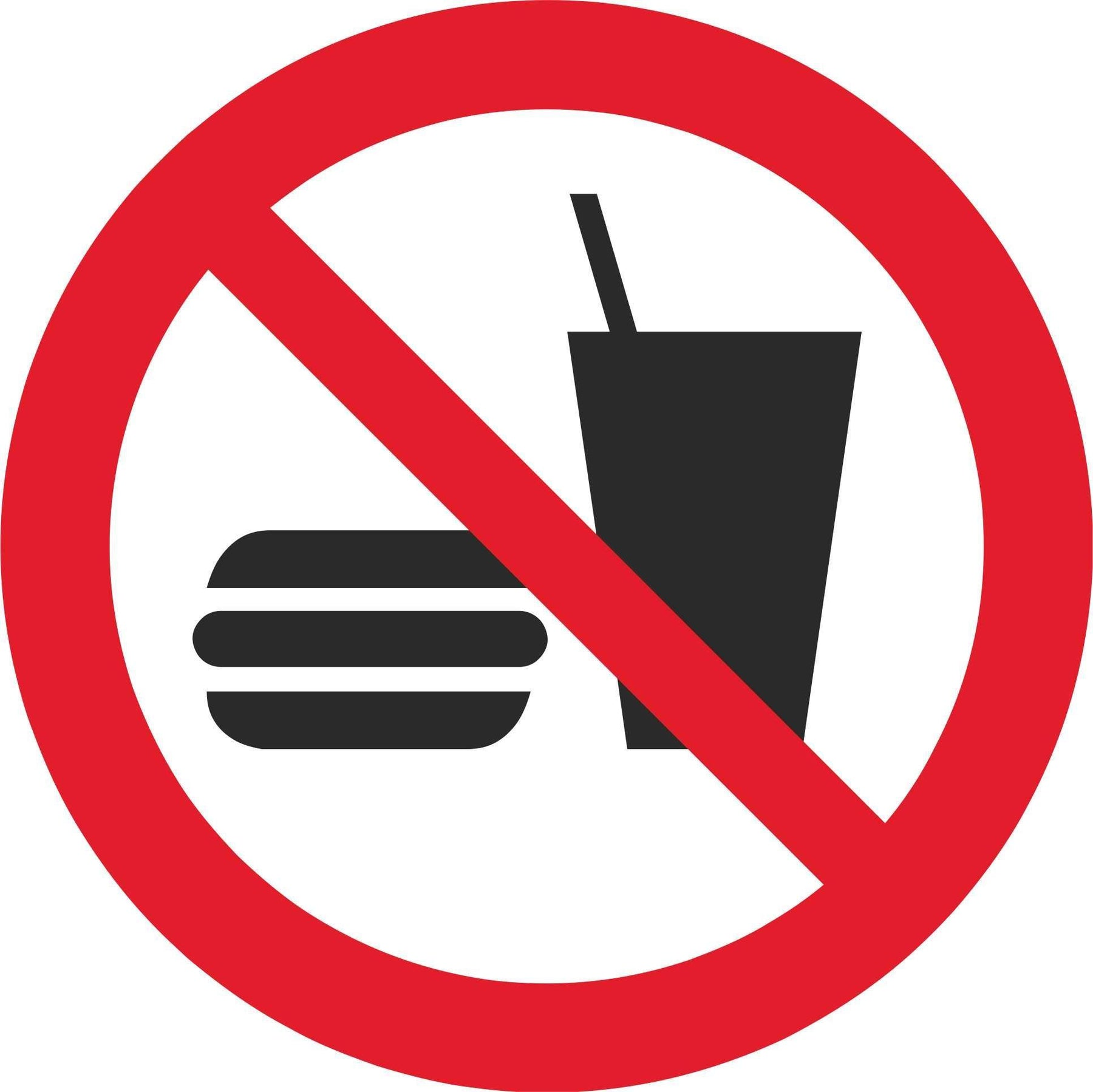 No eating or drinking - Symbol sticker sheet