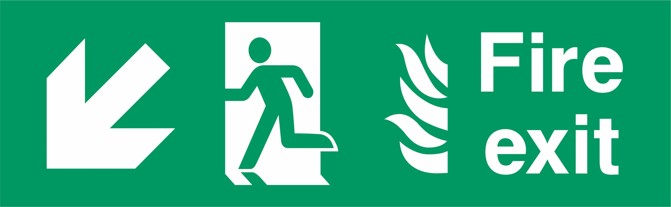 Fire Exit - Running Man Left - Down Left Arrow -NHS COMPLIANT