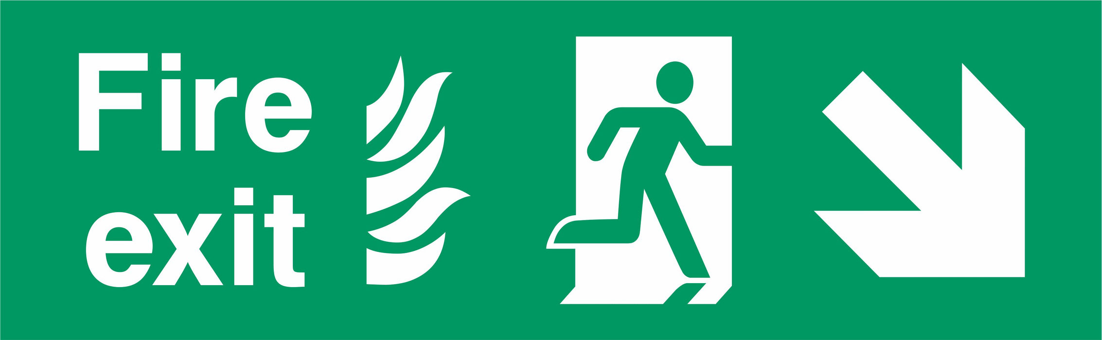 Fire Exit - Running Man Right - Right Down Arrow - NHS COMPLIANT