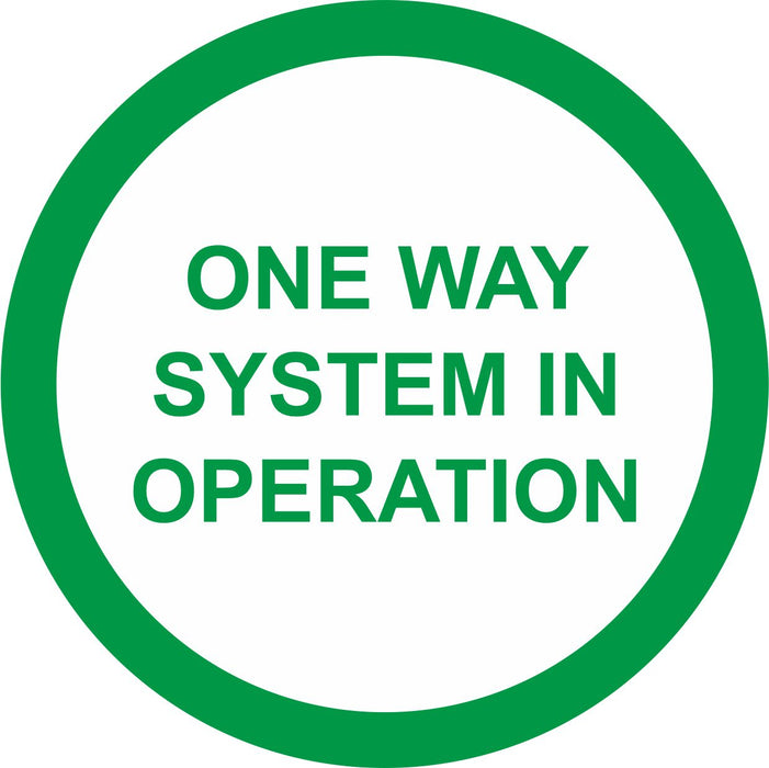 FLOOR STICKER - ONE WAY SYSTEM IN OPERATION  - COVID 19 SOCIAL DISTANCING