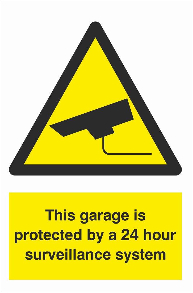 Security - CCTV  Sign - This garage is protected by a 24 hour surveillance system