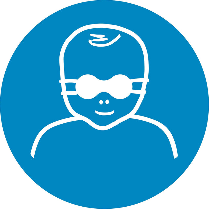 Protect infants' eyes with opaque eye protection - Symbol sticker sheet supplied as per image shown