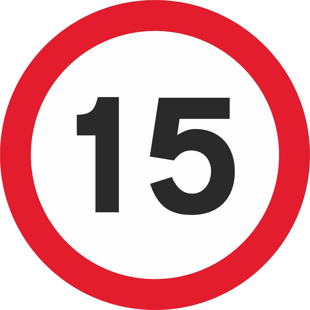 15 mph Maximum Speed - Road Traffic Sign