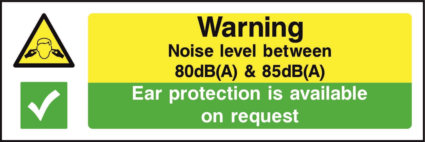 Warning Noise level between 80dB(A) and 85dB(A)