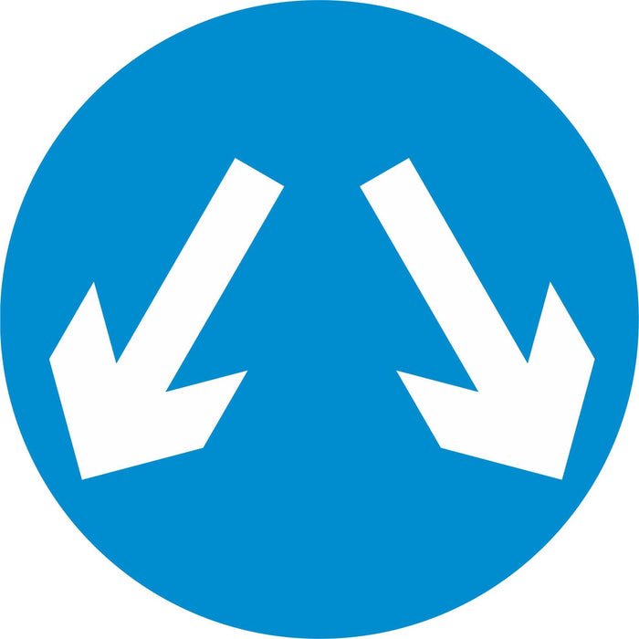 Vehicles may pass either side to reach same destination - Road Traffic Sign
