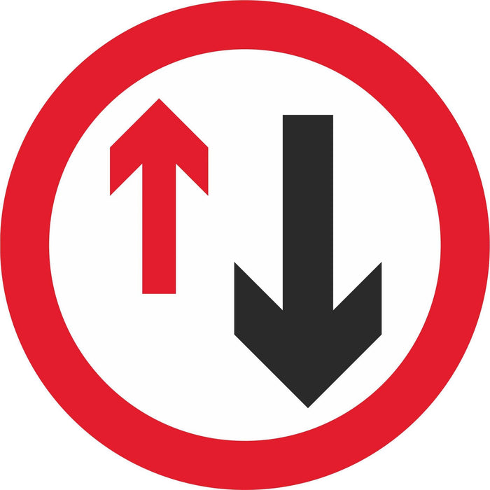 Give way to oncoming vehicles - Road Traffic Sign