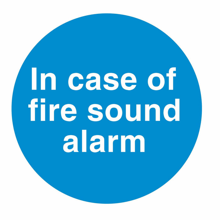 IN CASE OF FIRE SOUND ALARM - SELF ADHESIVE STICKER
