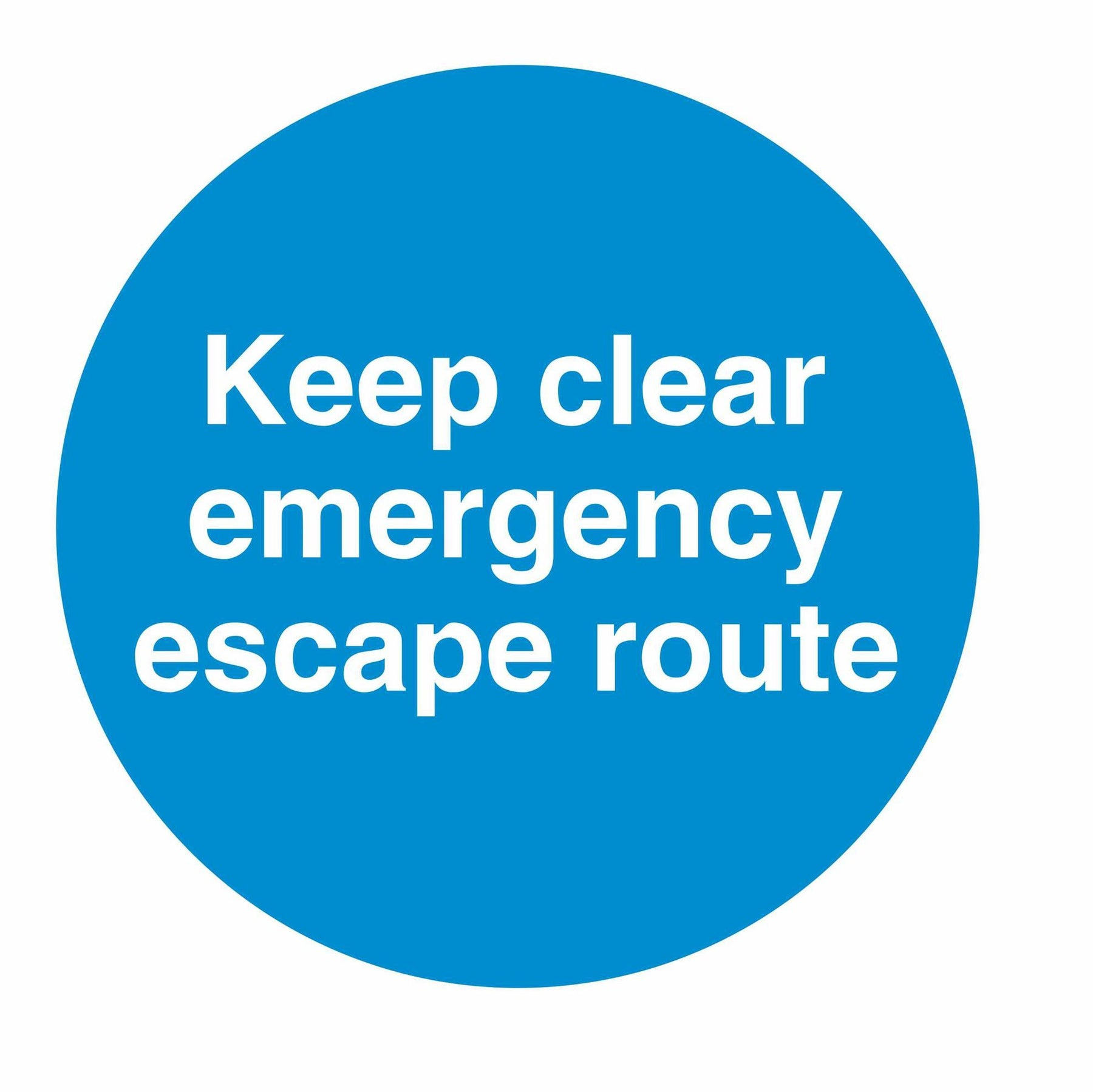 KEEP CLEAR EMERGENCY ESCAPE ROUTE - SELF ADHESIVE STICKER