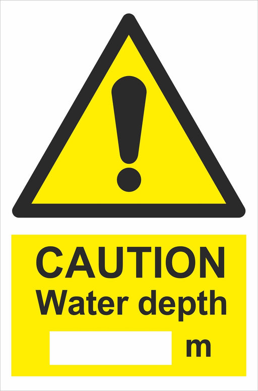 CAUTION Water depth  _m