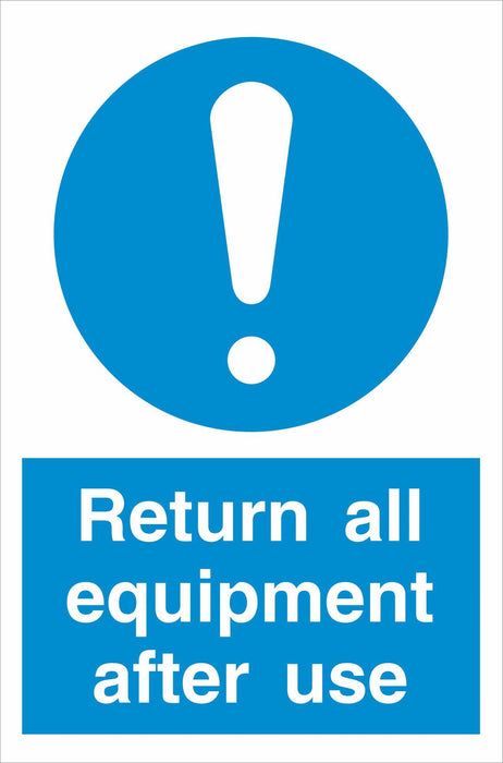 Return all equipment after use