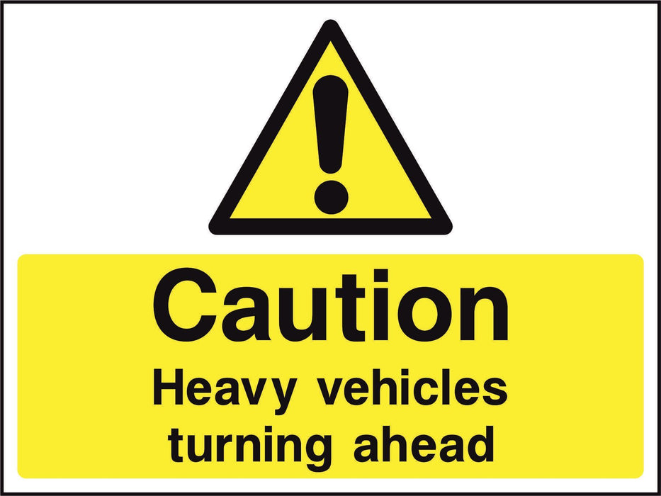 Caution Heavy vehicles turning ahead