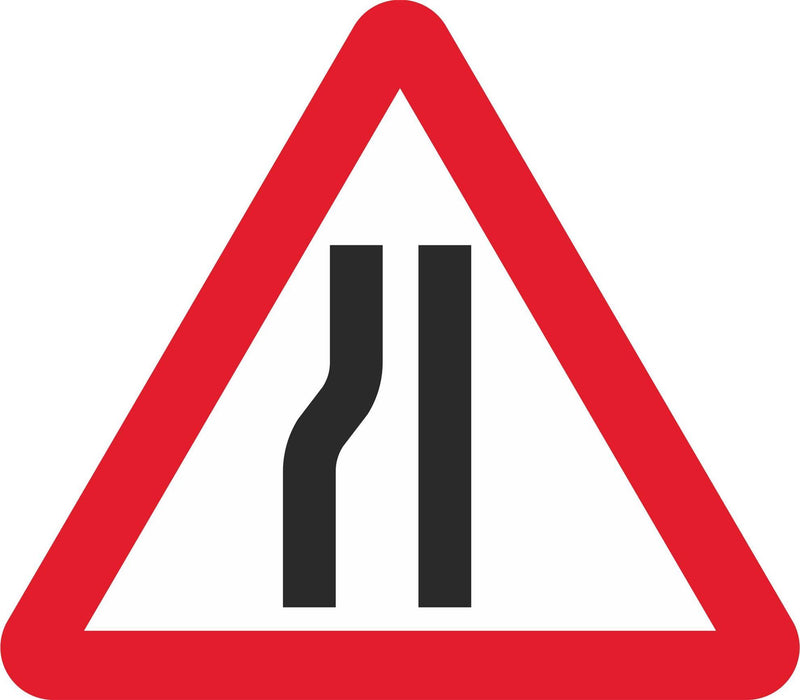 Road Narrows on Left - Road Traffic Sign