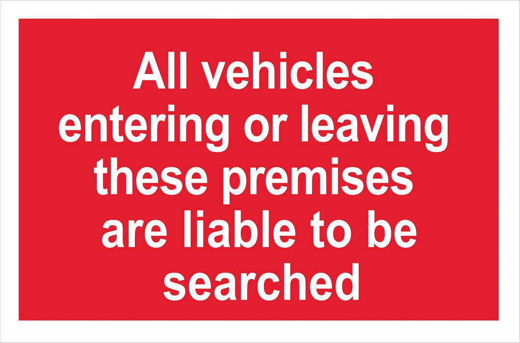 All vehicles entering or leaving