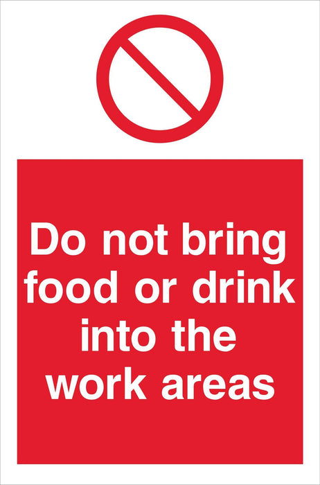 Do not bring food or drink into the work areas